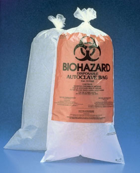 12X24in BIOHAZARD DISPOSAL BAG W/STERILIZATION PATCH